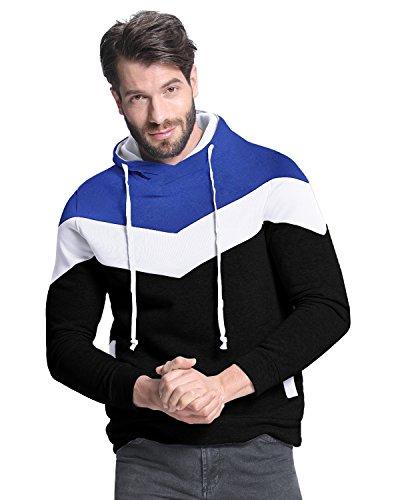 StyleDome Felpa con Cappuccio Autunno Primavera Casual Slim Raglan Sport Cotone per Uomo Blu + Bianco + Nero L
