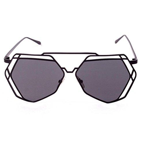 Mode Brille FORH Damen Herren Unisex Sonnenbrillen Summer Funny Unregelmäßige Sonnenbrille Beliebte Metallrahmen Spiegel Cat Eye Brille Freizeit Sportbrillen (Schwarz) (Billig Golf-fahrer)