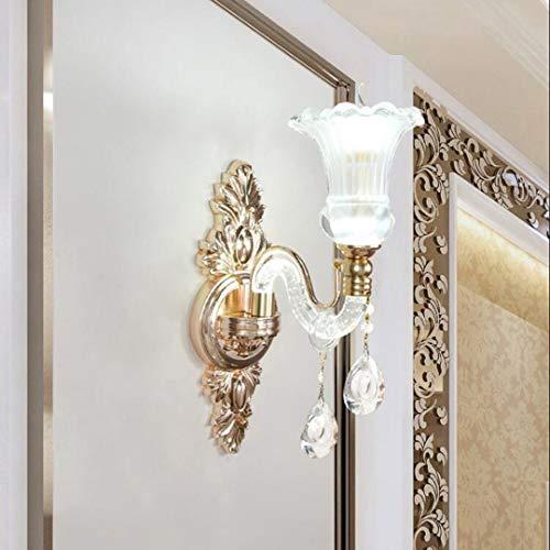 Phcom Europäischen Stil Wohnzimmer Warme Schlafzimmer Nachttischlampe Wandleuchte Kristall Lampe Hotel Korridor Lampe (Size : A-15 * 46cm) (Led-a15-glühbirnen)