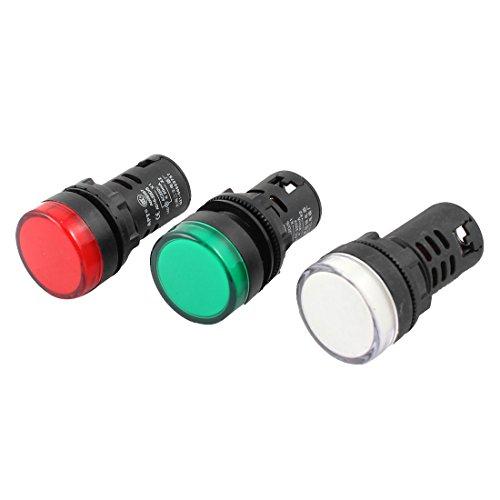 Sourcingmap® Luz indicadora de Encendido de CA 220V Verde Blanco Rojo LED Piloto de luz Individual de 20 mm 3 Piezas