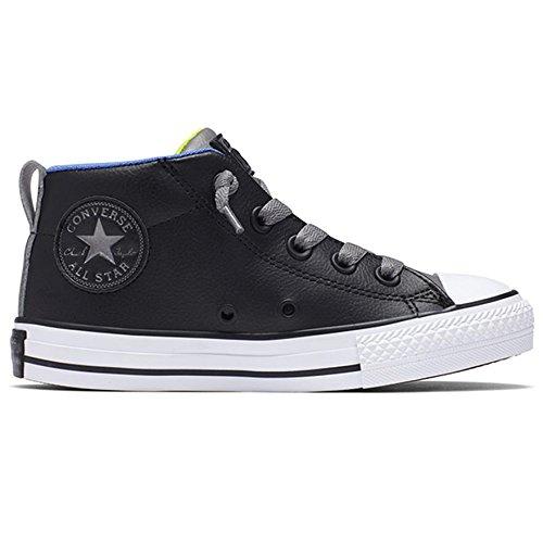 CONVERSE 654324C black nero gray pelle ct street mid elastico lacci 34