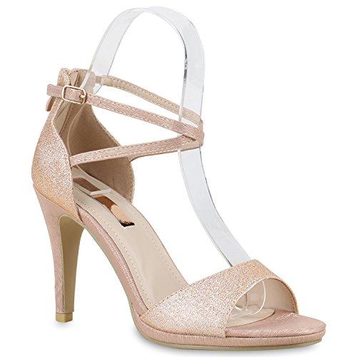 Elegante Damen Sandaletten High Heels Braut Party Animal Print Plateau Schleifen Abschlussball Schuhe 130252 Rose Gold 38 | Flandell