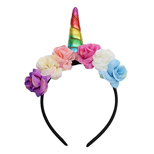 Chinget Kinder Einhorn Stirnband Blume Haar Zubehör für Karneval Halloween Party Verrücktes Kleid Cosplay Kostüm Geschenke (Bunt)