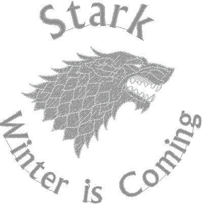 Felpa chiusura zip con ricamo lato cuore Stark Winter is coming - Game of Thrones - Il Trono di spade - serie tv - idea regalo - in cotone Nero