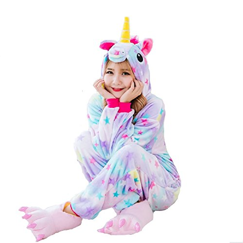 Imagen de runfon unicornio pijama ,flanela multicolor unicornio pijama,unicornio pijama con las estrellas diseño,disfraz para adultos, unisex, carnaval, halloween y navidad pijama cosplay alternativa