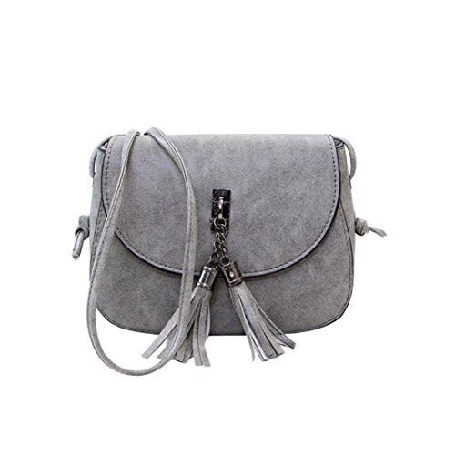 Kangrunmy borse tracolla uomo piquadro,donna vintage solid nappa messenger flap borse crossbody spalla borse (grigio)