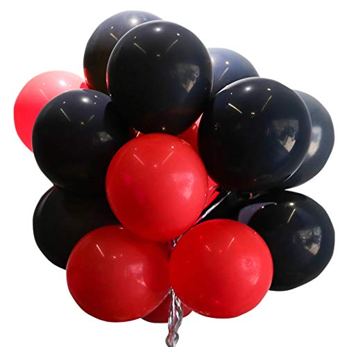 KjinZ 100 Globos, Púrpura, Rojo, Negro, Romántico, Globos Decorativos, Accesorios para Fotos, Decoración para Fiestas, Globos Decoración para Fiestas (Color : A)