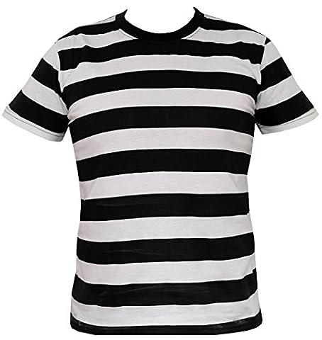 Rock Star Academy Raye Noir et Blanc T-shirt (Small)