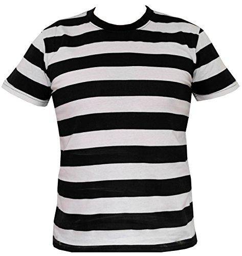Rock Mann Star Kostüm - Rock Star Academy schwarzweiß gestreiftes T-Shirt Gr. X-Large, schwarz / weiß