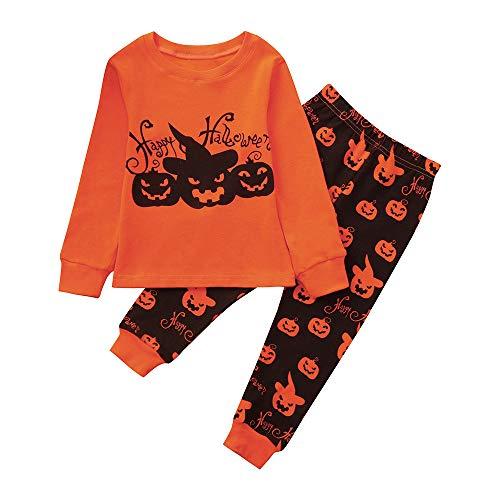 Zilosconcy Halloween Kinder Baby Jungen Junge Mädchen Kostüm Cartoon Teufel Kürbis Brief Drucken Kürbis Drucken Kleidung Set Hosen Tops Jumpsuit Langarm Hemd Shirt Hosen Tops T-Shirt Hoodie