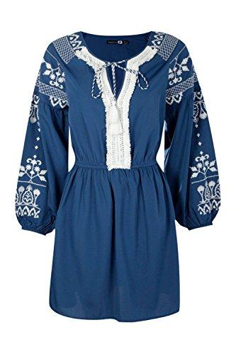 Damen Blau Boutique Lara Besticktes Kleid Mit Fransen Blau