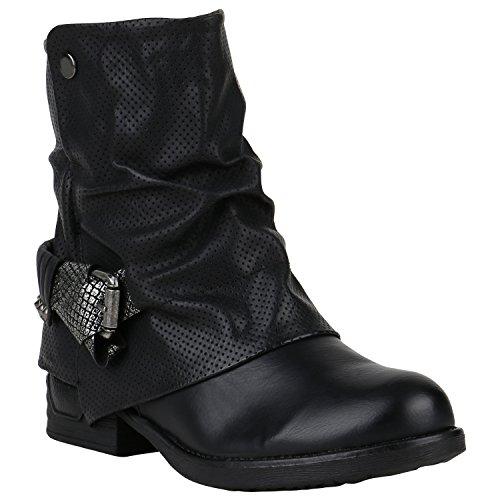 Gefütterte Damen Biker Boots Glitzer Stiefeletten Nieten Schuhe 150191 Schwarz Prints Nieten 38 Flandell