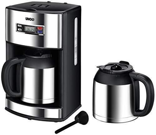 Unold 28465 Kaffeeautomat Digital mit 2 Warmhaltekanne-Edelstahlkannen / 1000 Watt / 1.2 Liter ca. 10 Tassen / Uhrfunktion