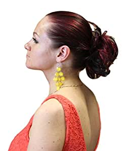 HAIR EXTENSION SCRUNCHIE UP DO DOWN DO SPIKY TWISTER (03 Black With Ruby Red)