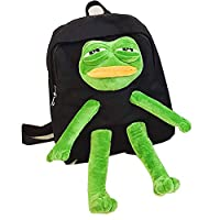 School Bag Backpack Satchel Rucksack with Frog Plush Doll Decor Canvas Daily Bag for Casual Travelling Shopping