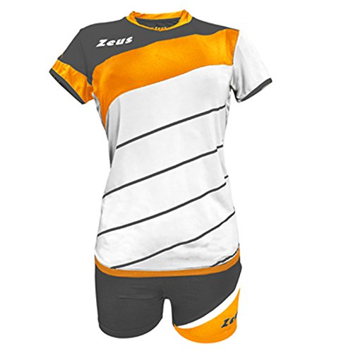 Zeus Kit Lybra Femme-Blanc Orange Fluo-Gris Foncé Volleyball Set Complet Tournoi École Sport Training Volley Pegashop, BIANCO-ARANCIONE FLUO-GRIGIO SCURO, XXS