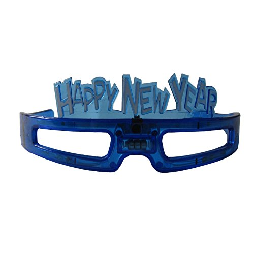 grau.zone Silvester Party Brille Happy New Year Spassbrille Leuchtbrille Blau