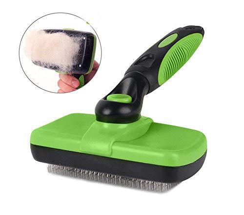 Unbekannt Selbstreinigende Slicker-Bürste Haustierpflegebürste Selbstreinigende Slicker-Bürsten für Hunde Katzen und große Haustiere (Grün)