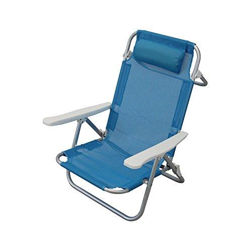 Spiaggina mare sdraio con cuscino e braccioli azzurro per campeggio spiaggia piscina giardino