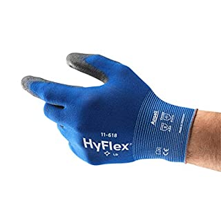 Ansell HyFlex 11-618 Work Gloves in Nylon, Extra-Thin, Mechanics Glove for Multi-purpose, Blue Black - Men's Workwear Durable Size 9 (Pack of 12)