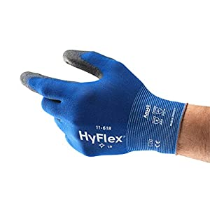 Ansell HyFlex 11-618 Guantes de Trabajo de Nylon, Extra-finos, Guante Mecánico Duraderos para Usos Múltiples, Azul Negro, Tamaño 8