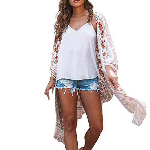 MRULIC Damen Florale Kimono Cardigan Boho Chiffon Sommerkleid Beach Cover up Leicht Tuch für die Sommermonate am Strand oder See (XL, Z1-Rot) -