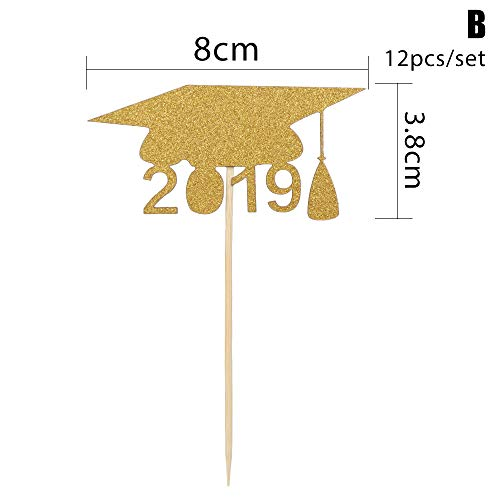 lakamier 12pcs Glitter Paper Party Supplies Bachelor Hat Photo Booth Props Cupcake Toppers 2019 Graduation Food Sticks Cake Decor(B-12pcs) (Props Hat Booth Photo)