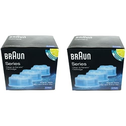 Braun Clean & Renew Shaver Cleaning Refill Cartridges (2 Boxes - 6 Refills) by Braun