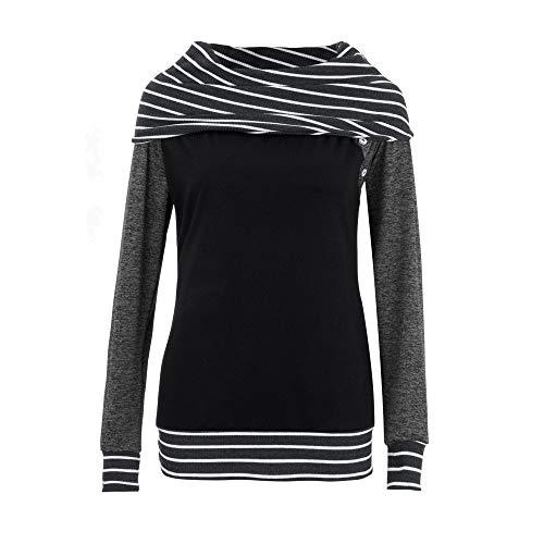 "Yanhoo Pullover Damen Herbst Winter Mode Frauen Skew Neck Lange Ã""rmel Striped Patchwork Button Sweatshirt Top"