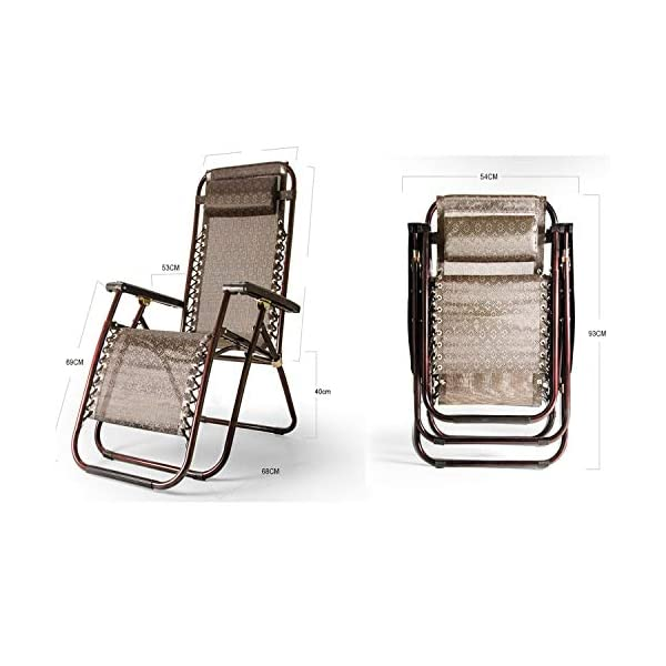 MRZZ Folding Chair,Office Lunch Nap Beach Chair Multi-function Recliner Escort Chair Reclining Garden Sun Lounger Chairs (Color : Brown)  It is incredibly comfortable, durable and folds down flat for easy storage Detachable and adjustable,Easy to install. Applicable Office lunch break, balcony small raft, outing camping, beach trip, hospital companionship or just relaxing in the garden. 5