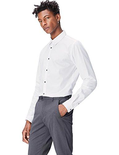Find camicia slim fit in cotone uomo, bianco (white), small