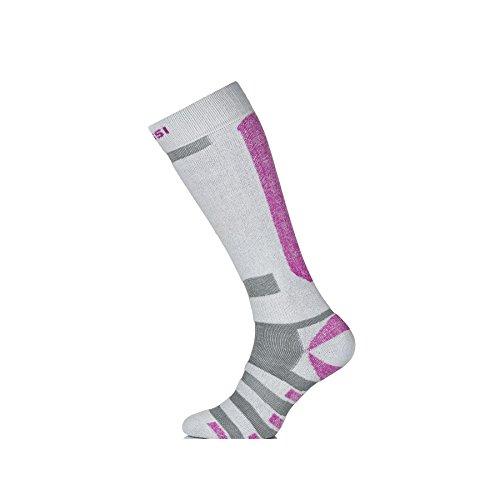 Nessi Skisocken Snowboardsocken Modell SN atmungsaktiv und warm Damen Herren Kinder - grau-rosa, 38-41