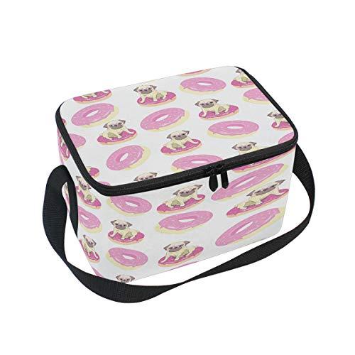 Pink Donuts Lustige Mops Lunchboxen Tasche für Hunde Welpen Welpen Tragbare Schulter Wasserdicht Isolierte Kühltasche Ice Tote Bag mit Reißverschluss Picknick Arbeit Büro