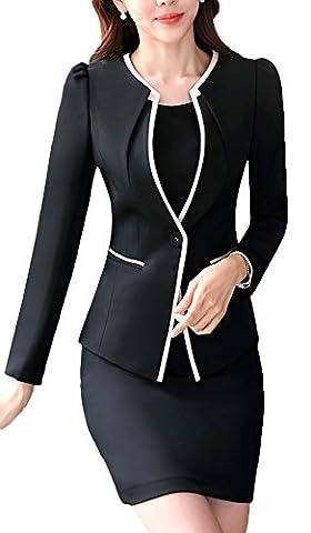 SK Studio Women's Two Piece Buesine Stretch Jacket Skirt Dress
