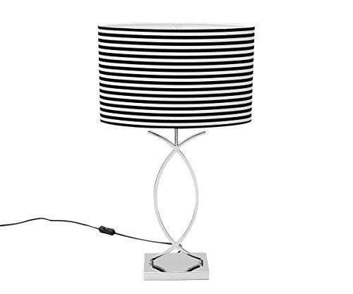 Lámpara de mesa blanco y negro lámpara de mesa 69cm Diseño Art Déco lámpara Bauhaus Modern pantalla de tela de noche lámpara de mesa lámpara de mesa estilo modernista Plata Vintage Loft
