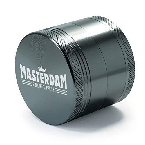 MasterGrind Serie Shield, 4 sezioni, in Alluminio, di precisione, Macina Erbe con Micron Schermo per Erbe, spezie, Colore: Grigio [Lingua Inglese], Alluminio, Metallo, Standard (2.2 inch)