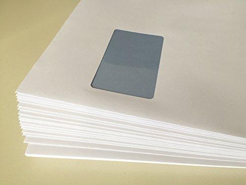 50 Versandtaschen mit Fenster, C4 = 324 x 229 mm, mit Laser bedruckbar, hitzefestes Folienfenster, Geschäfts-Umschläge, mit Abziehstreifen