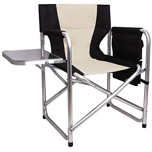 Campingstuhl Klappbar Regiestuhl Schminkstuhl mit Seitentisch und Seitentasche,Leichte Aluminiumrahmen Atmungsaktive Oxford Stoff Outdoor Lawn Angeln Tragbaren stühle,bis zu 300LBS belastbar(Black