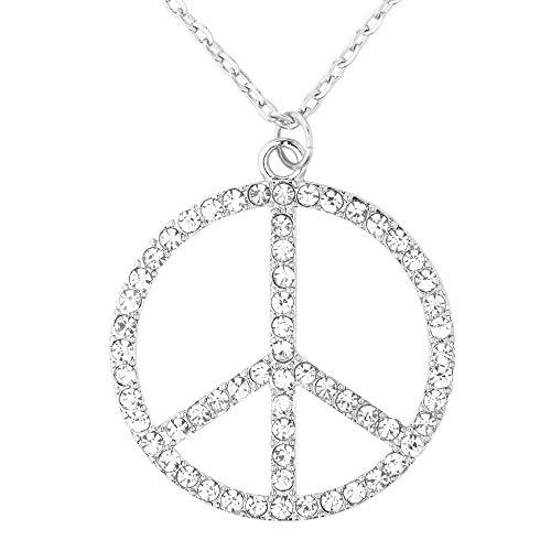 WIDMANN 03557 Strasskette Hippie, Damen, Silber, Unica (Peace Zeichen World)