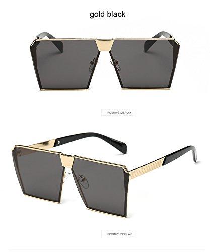 Aprigy Mode-Marken-Entwerfer-Quadrat-flache Linse Sonnenbrillen Spiegel-Frauen-Sonnenbrille M?nner Hip Hop Maxi-Lady Brille M?nnlich [Gold Schwarz]