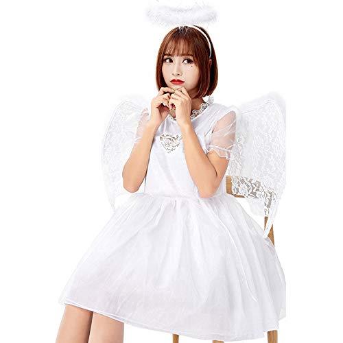 Kostüm Demon Angel - QWWR Halloween Fallen Black Angel Cosplay Kostüm mit Flügeln Rock Demon Charakter Weiß One Size