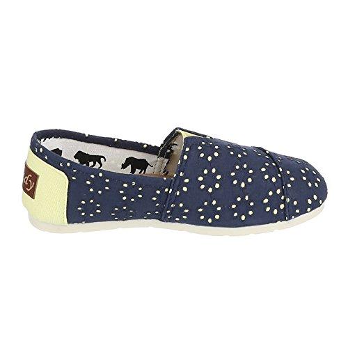 Damen Schuhe Halbschuhe Slipper Ital-Design Blau