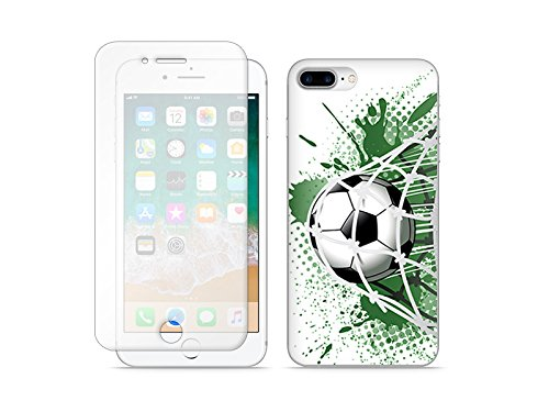 etuo Apple iPhone 8 Plus - Hülle Full Body Slim Fantastic - Ball im Tor - Handyhülle Schutzhülle Etui Case Cover Tasche für Handy