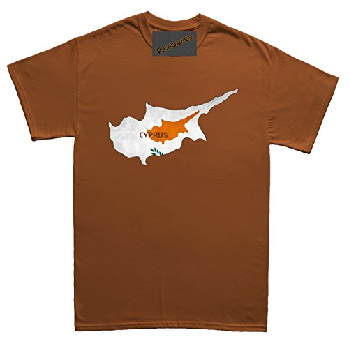 Renowned Cyprus Flag Map Grunge Herren T Shirt Braun