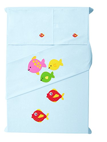 Baby Rap - Fish Family - 2 Cot Sheets & 2 Pillow Cases - Blue