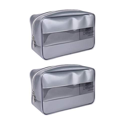 2 Piezas Neceseres Viaje Bolsa Aseo Cremallera PVC