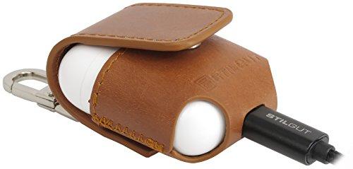StilGut AirPods Case con Mosquetón de piel para su Apple AirPods | Elegante AirPods Funda de cuero, Cognac