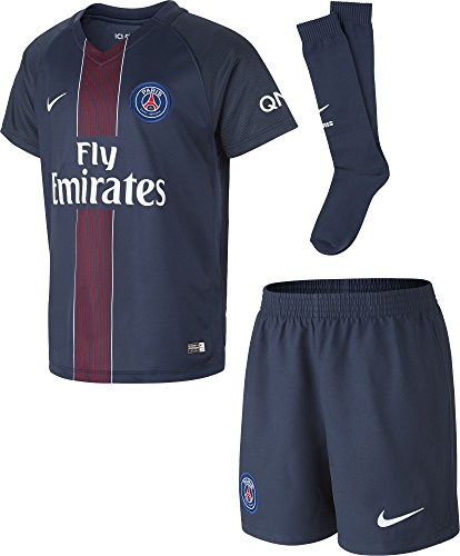 Nike 2016/2017 Psg Stadium Home Ensemble de Football Mixte Enfant, Midnight Navy/Noir/Challenge Red/Blanc, FR : L (Taille Fabricant : L)
