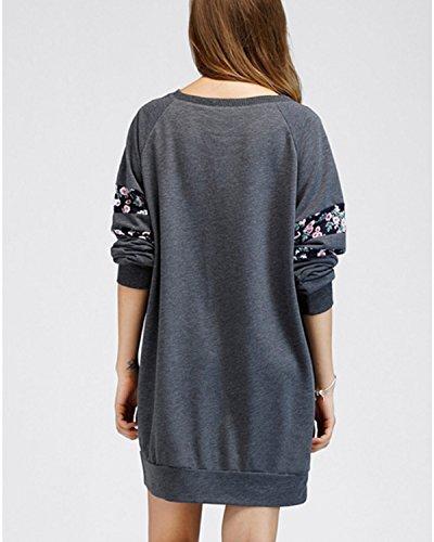 BIUBIU Damen Casual Lose Blume Sweatshirts Kleid Langarm Pullover Pulli Sweat Kleid Dunkelgrau