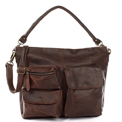LECONI Schultertasche Ledertasche für Damen Vintage-Look echtes Leder Natur großer Shopper Lederhandtasche für DIN A4 Damentasche Frauen Handtasche 41x32x10cm dunkelbraun LE0039-wax -